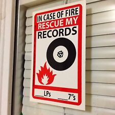 In Case Of Fire RESCUE MY RECORDS Sticker Vinyl Save LP DJ 45 Collection Rock