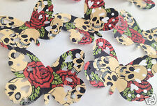 HALLOWEEN Ready Cut 12 x Skull & Roses Edible Butterflies Cake Toppers