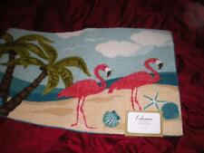 "TROPICAL SUMMER PINK FLAMINGOS PALM TREES FLAMINGO ACCENT MAT RUG 20"" X 32"""