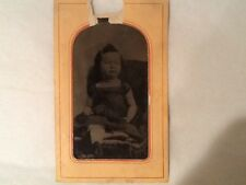 Tin Type Little Girl Sitted Interesting Hair Glover's photo 4 x 2.1/2w Vintage
