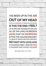 30 Seconds To Mars - Up In The Air - Song Lyric Art Poster - A4 Size