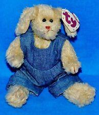 """Ty MURPHY Tan Dog (w/Blue Denim Jumper) (Jointed 8"""") Attic Treasure 1997 MWMT"""