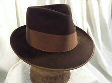 "Vintage Mallory ""The Mallory Ten"" Fedora Hat Grosgrain Ribbons Brown Color Sz 7"