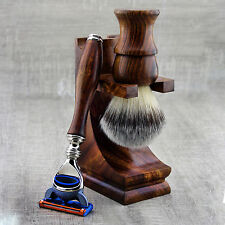 3 PiecesWooden Shaving Set For Men's With Synthetic Hair Brush & Gillette Fusion