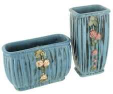 Antique Hand Painted Weller Blue Drapery Planter & Vase Pink Roses