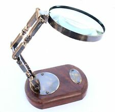 Antique brass brand & sons opticians wooden stand round magnifying glass Vintage