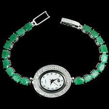 Sterling Silver 925 Genuine Emerald & Lab Created Diamond Watch 7 Inch