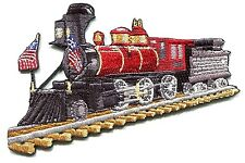 STEAM TRAIN LOCOMOTIVE with flags EMBROIDERED IRON-ON PATCH Free Shipping p-4192