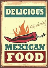 """MEXICAN FOOD""DINER,KITCHEN,FOOD,RETRO,COLLECTABLE, ENAMEL, Metal Sign.316"