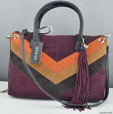NWT Handbag GUESS Nakieta Satchel Bag Brown Multi Ladies