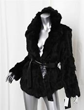 ADRIENNE LANDAU Womens Black Rabbit Fur Belted Long-Sleeve Jacket Coat L NEW