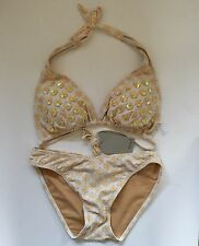 Spiegel Padded 2 Piece Bikini Swimsuit Womans 8 Yellow Pink White Sequins NWT