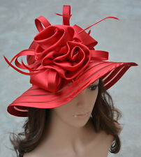 A214 Women Dress Church Wedding Kentucky Derby Satin Feather Floral Sun Hat