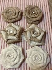 Set of 6 Burlap Flowers Natural Ivory Swirl Pearl Rustic Outdoor Wedding Country