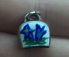 Vintage 800 Silver Enamel Flower Cow Bell Charm - Rings - A840