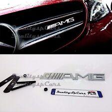 Mercedes benz AMG logo griglia calandra Grill Badge Emblem Chrome A C CLA CLS E
