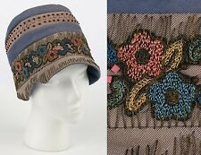 VTG 1920's MARTHA WASHINGTON GRAY BLUE EMBROIDERED BEADED CLOCHE FLAPPER HAT