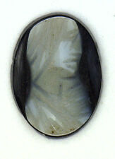 Antique Carved Miniature Oval Black & White Cameo Stone 11.5 mm x 8.5 mm  #N630