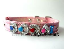 10*370mm+8mm Pink Sequins PU Leather Pet Dog Cat Collar Fit 8mm Slide Charms