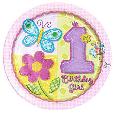 1ST BIRTHDAY GIRL Hugs & Stitches LARGE PAPER PLATES (8) ~ Party Supplies Pink