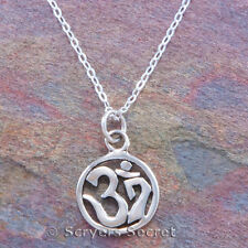 925 sterling silver OHM SYMBOL Aum Om Charm Yoga Mantra Pendant Necklace small