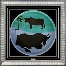 PABLO PICASSO Original MADOURA CERAMIC Plate Authentic Artwork Plein Feu Toros