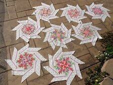 "8 - Large Quilt Blocks Kaleidoscope Shabby Pink Rose Floral Chic 24"" Star Flower"
