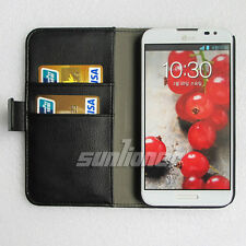 Flip Card Black Wallet Leather Case Cover for LG Optimus G Pro, E980 AT&T