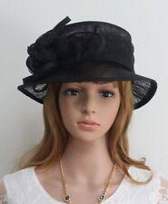 New Woman Church Derby Wedding Sinamay Dress Hat  C45 Black