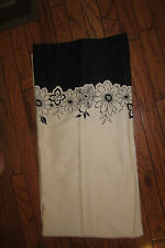 CASUAL HOME EYELET EMBROIDERY SHOWER CURTAIN IVORY BLACK FLORAL COTTON FABRIC