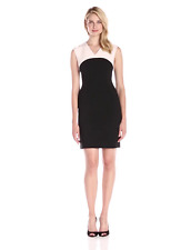 Ellen Tracy NEW Black Womens 12 Petite V-Neck Colorblock Sheath Dress $130 (LQ6)