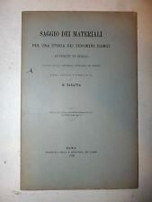 SCIENZA - Baratta: Saggio dei Materiali, Storia Fenomeni Sismici in Italia 1899