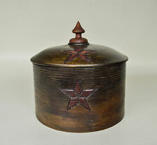 Folk Art Antique Pantry Box with Hand Carved Star Design and Fitted Top