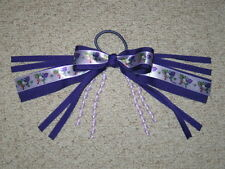 "NEW ""HELLO KITTY"" Pony Tail Birthday PURPLE Girls Ribbon Hair Bows Cheer"