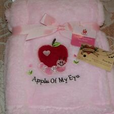 NEW APPLE OF MY EYE SOFT ALL PURPOSE EMBROIDERED BABY BLANKET CATERPILLAR PINK