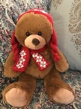 "14"" Arizona Jean Company Plush Teddy Bear Red Hat & Scarf Winter  2010 #E7"