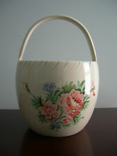 Vintage Ethan Allen Glazed Ceramic Pottery Handle Basket Cabbage Rose Design