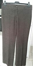 "BROWN CHECK VIRGIN WOOL SMART TROUSERS SIZE 10 BY KAREN MILLEN 30"" WAIST - 32"" L"