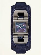 Guess Womens Crystal Accented Dial Gunmetal Stainless Steel Case Python Leather
