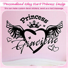 Custom Princess Heart Wing Love Sign Art Vinyl Home Decor Wall Sticker Decal 123