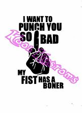 VINYL DECAL STICKER I WANT TO PUNCH YOU SO BAD...FUNNY...CAR TRUCK WINDOW