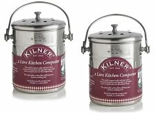 Set of 2 Kilner Stainless Steel 2L Kitchen Compost Food Waste Recycling Bin