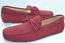 Tod's Men's Red Shoes Moccasin Loafers Cherry Driver Dress Size 10.5 Suede NIB