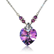 Vitrail Light Vintage Heart Pendant Necklace with Crystal from Swarovski