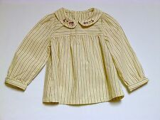 "Gymboree ""Girl Detective"" Ivory LS Striped Swing Top, 2T"
