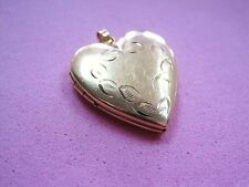 LQQK Vintage Beautiful Yellow Gold Heart Locket Pendant 14k GOLD ladies LOVE