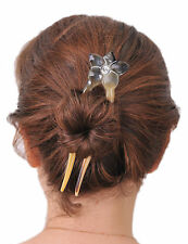 BUFFALO HORN HAIR FORK HAIR STICK FLOWER CARVED HAIR ACCESSORIES 0415