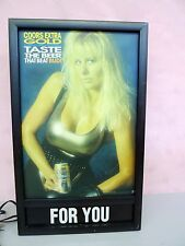"""Coors Extra Gold """"Taste The Beer That Beat Bud"""" Lighted Sign w/Sexy Lady"""