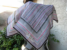 "LANVIN NWOT 22""X22"" SQUARE SILK STRIPED FRANCE HAND ROLLED WOMEN BANDANNA/ SCARF"