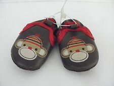 """NEW Old Navy Infant Baby Brown """"Sock MONKEY"""" Crib SHOES~Size 2"""